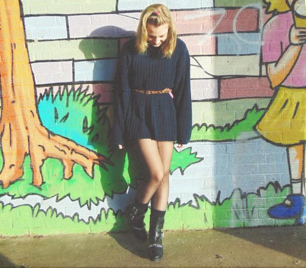 the velvet black grunge blogger belt sweater dress sweater shoes