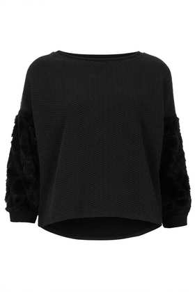 Diamond Fur Sleeve Sweat - Topshop