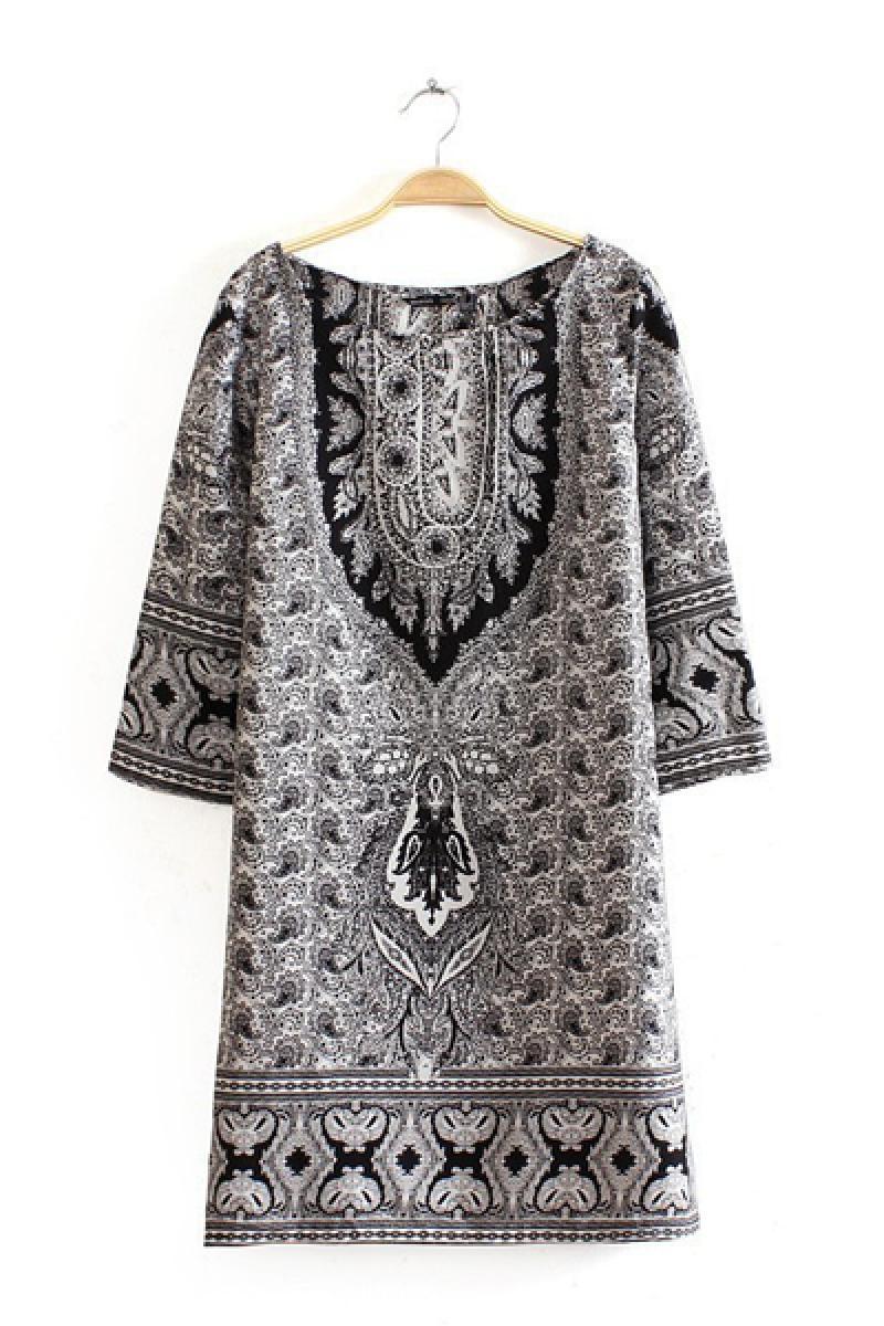 New Plain Pattern Printed Half Sleeve Dress ,Cheap in Wendybox.com