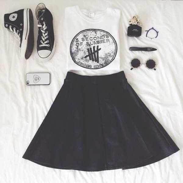 high top converse converse black skirt 5 seconds of summer band band merch band t-shirt round sunglasses outfit festival graphic tee 5sos tees 5sos merch phone cover black sneakers black converse black and white skirt this black skirt