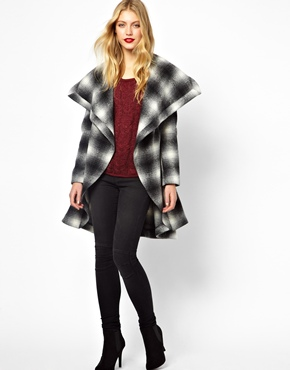 Oasis | Oasis Check Drape Belted Coat at ASOS