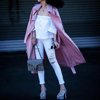 fit fab fun mom blogger top coat jeans shoes bag sunglasses jewels pink coat gucci bag off the shoulder top high heel sandals