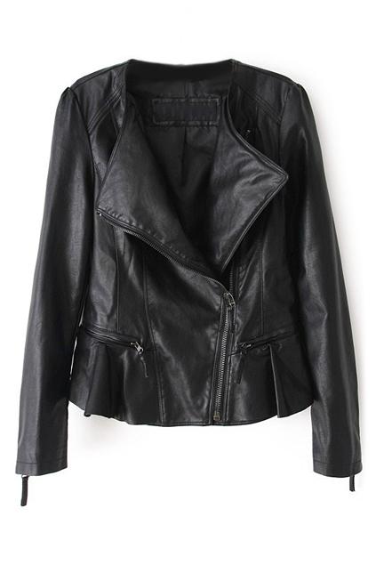 ROMWE   Romwe Zippered Pleated Faux Leather Black Jacket, The Latest Street Fashion
