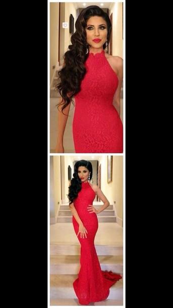 dress red lace long formal dress c