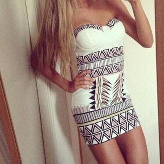 dress tribal print dress white dress