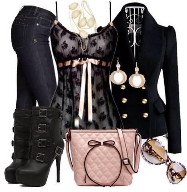 shirt pink ribbon lace black lace bow jacket bag tank top black gold buttons blouse