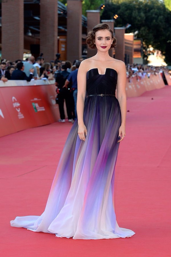 Dress Lily Collins Prom Dress Long Dress Puple Black