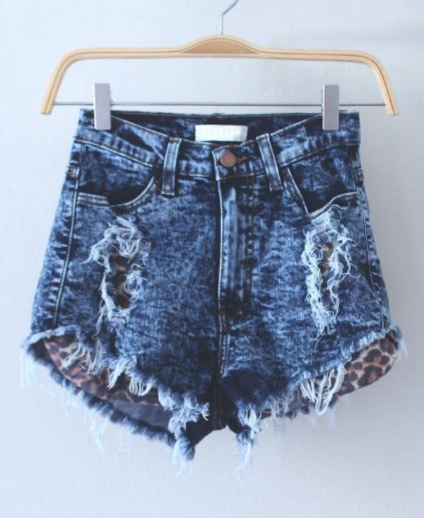 shorts High waisted shorts leopard print demin shorts