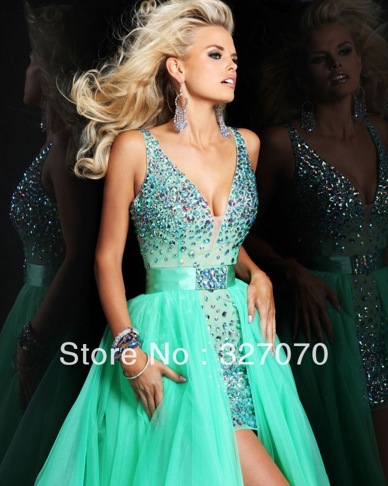2013 Bewitching Looking A line V neck Crystals Organza Mini Prom Dress Can Remove The Long Dress Free Shipping-in Prom Dresses from Apparel & Accessories on Aliexpress.com