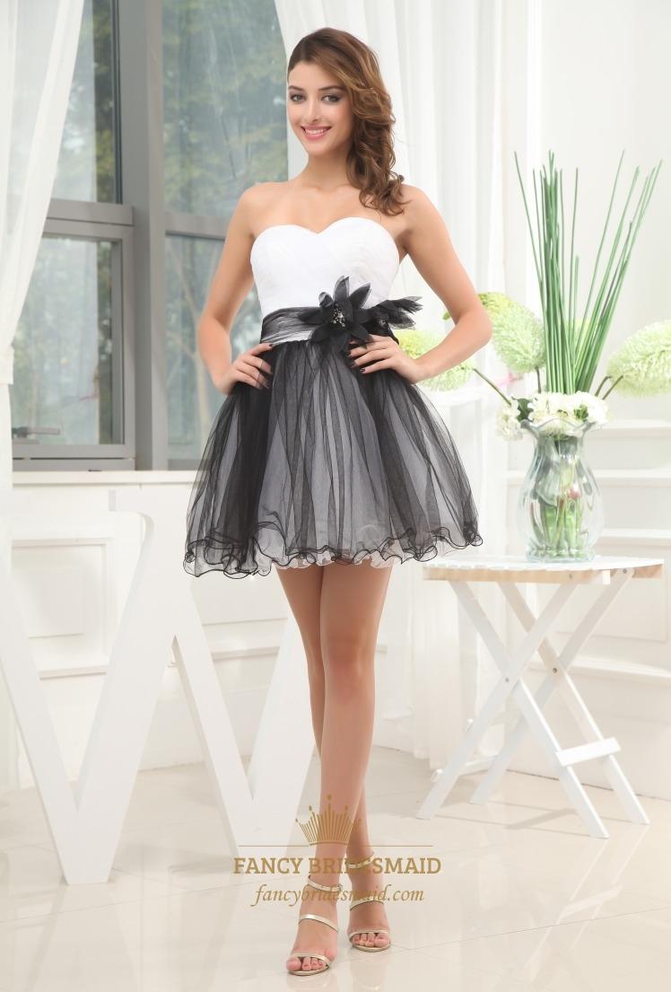 Black And White Short Prom Dresses 2013, Strapless Tulle Cocktail Dress, Short Strapless Tiered Tulle Dress | Fancy Bridesmaid Dresses