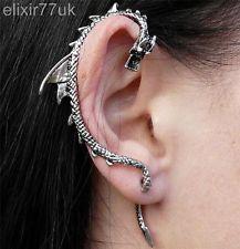 NEW Silver Dragon Snake EAR Cuff Clip Wrap Lure Stud Earring Gothic Punk Gift UK | eBay