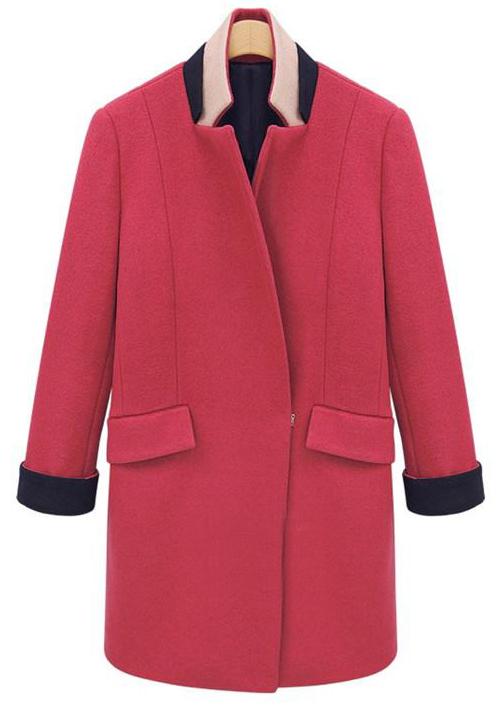 Rose Red Contrast Band Collar H-line Boyfriend Wool Coat - Sheinside.com