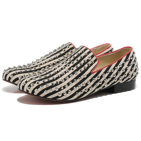 Christian Louboutin Men Sneakers Flat Black White Canvas Red Bottom Shoes,Discounted Christian Louboutin