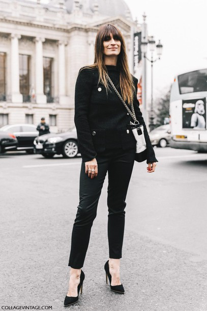 Image result for Street style pics black pumps and slacks
