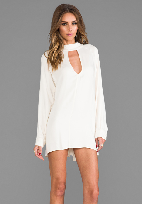 FOR LOVE & LEMONS Charming Loose Fit Cut-Out Dress in Ivory - For Love & Lemons