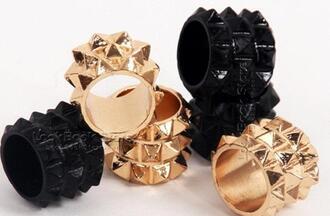 jewels stud studs studded ring pineapple hedgehog