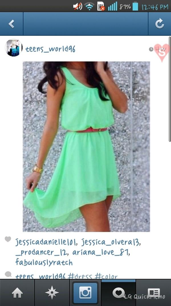 dress mint dress short front long back