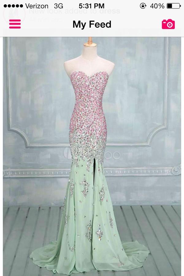 dress long prom dress prom dress rhinestones pink pink dress green dress green mint dress