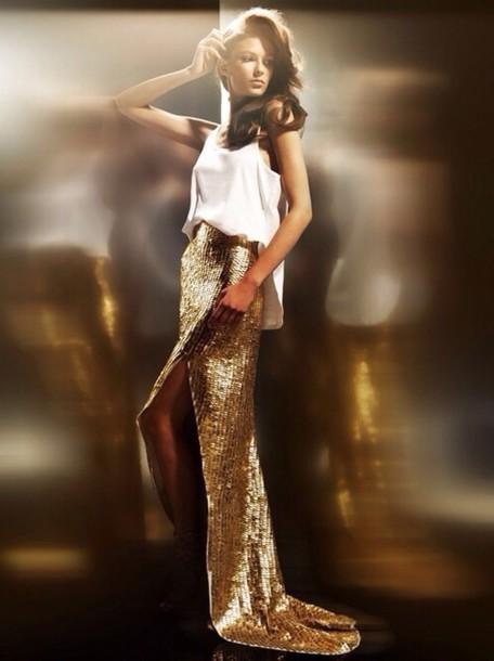 skirt sequin skirt gold high low skirt