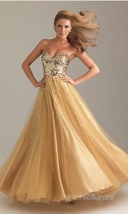 Princess Satin Strapless Long Dress Charm87666