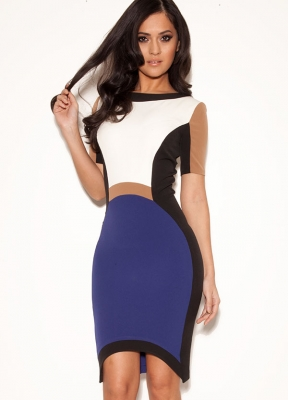 Dresses : Pencil Dresses : ''Portia' Cobalt Blue Stretch Crepe Structured Pencil Dress