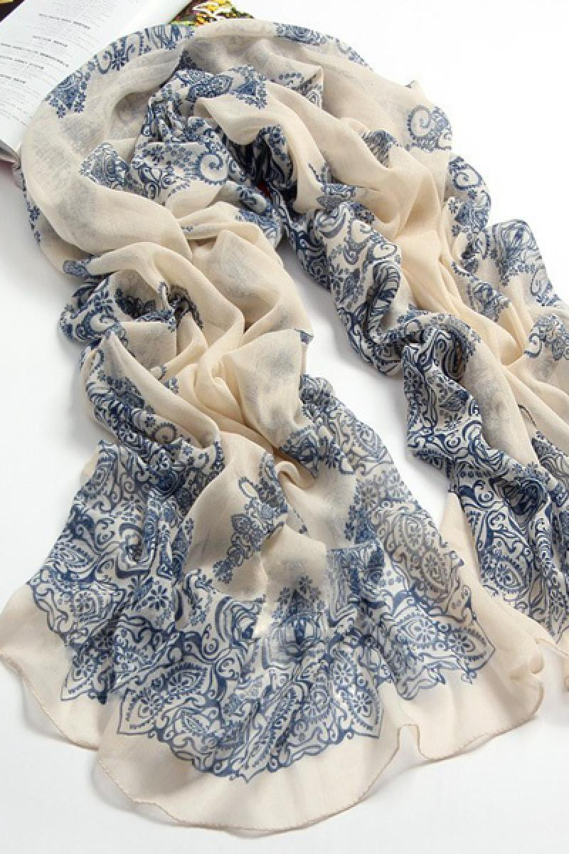 Autumn & Winter Long Section Blue And White Porcelain Thin Ladies Scarves,Cheap in Wendybox.com