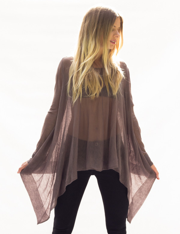 shirt top long sleeves flutter oversized loose sweater knit