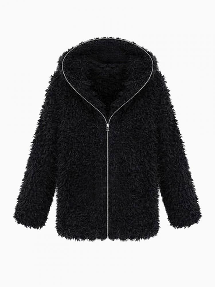 Shearling Hooded Coat | Choies