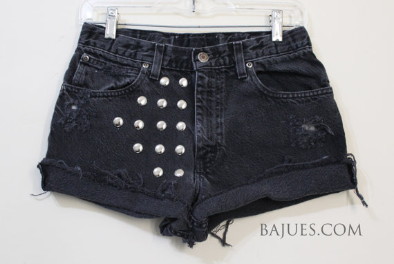Gothic Black Distress Studded Shorts by BajuesBest on Etsy