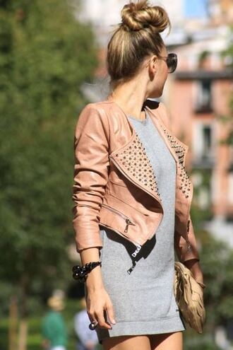 jacket leather pale zip rivets beautifull cute style pink grey dress fashion