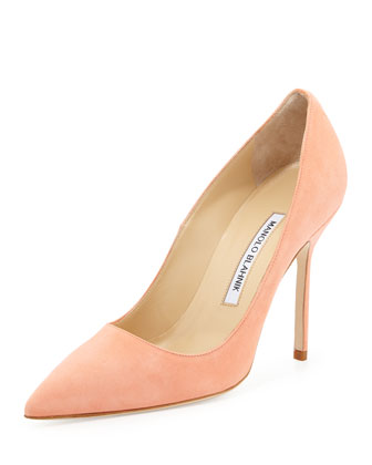 Manolo Blahnik BB Suede 105mm Pump, Peach