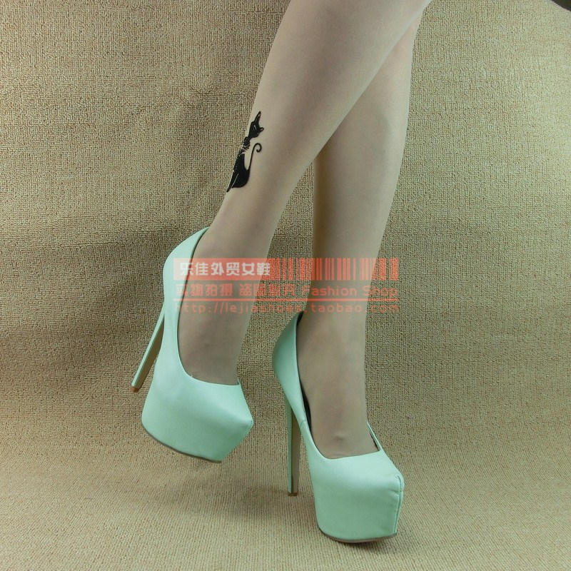 Women's shoes mint green pointed toe platform fashion ultra high heels single shoes 6.5 inch 35   43-inPumps from Shoes on Aliexpress.com