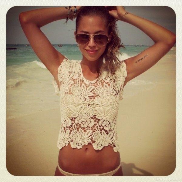 shirt top girl beach lace creme girly