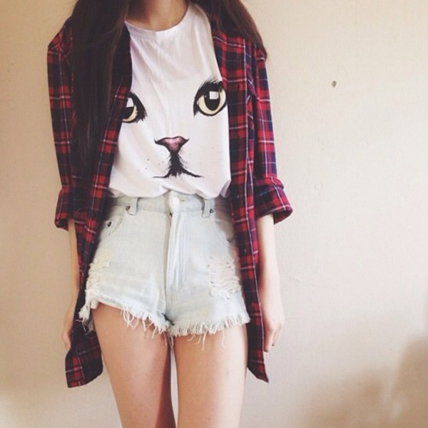 graphic tee cats plaid shirt distressed denim shorts acid wash blouse shirt cats catlover white t-shirt meow jeans