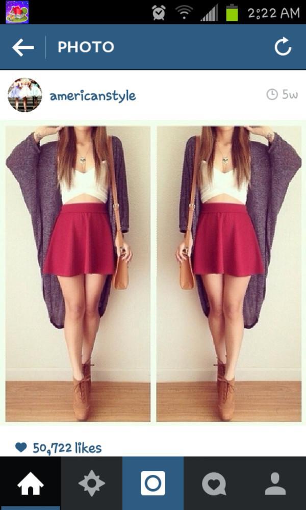 sweater skirt crop tops high heels jewels bag top