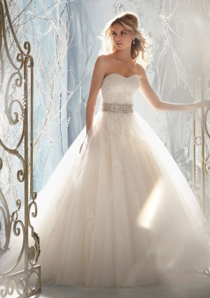 Sweetheart Chapel Train Tulle Ball Gown Wedding Dress Wmr0027