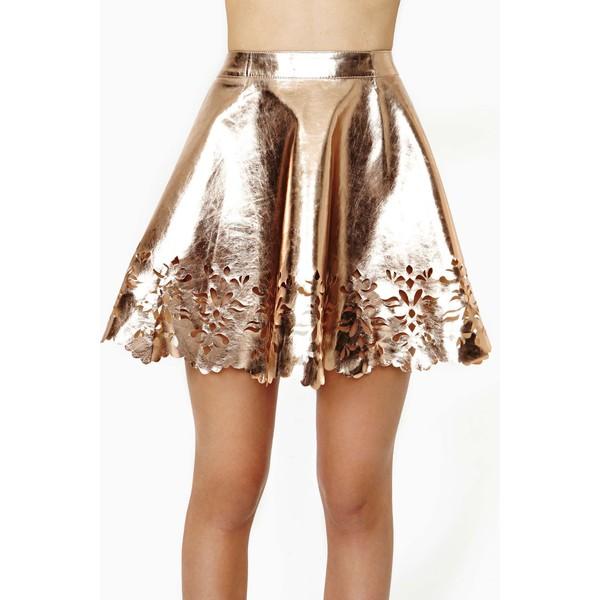 Reverse Metal Petal Faux Leather Skater Skirt - Polyvore