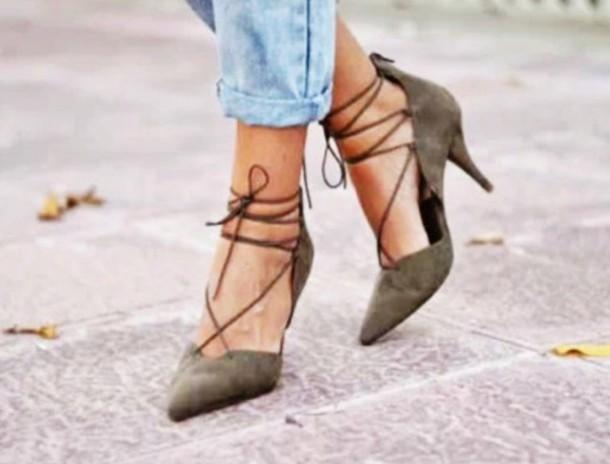 shoes zara khaki lace heels
