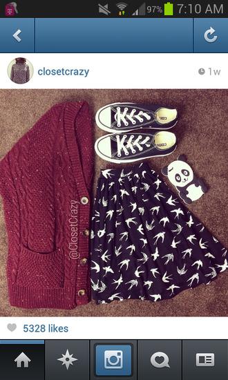 jacket skirt burgundy converse birds shirt black