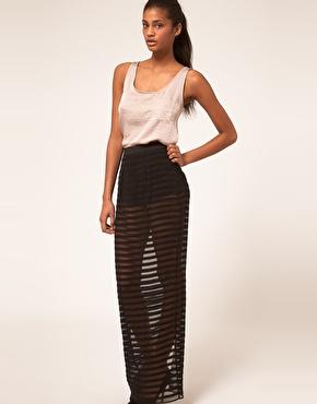 ASOS | ASOS Sheer Stripe Maxi Skirt With Knicker Shorts at ASOS