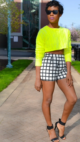 shorts pleated high waisted shorts cropped sweater neon yellow black white spring summer fashion lines plaid long sleeve sweater shoes heels strappy black heels crop tops sweater lime cute cropped african american brownskin cute shorts black girls killin it