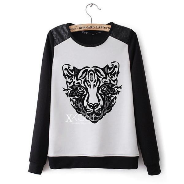 sweater tiger black white fashion women style