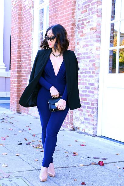 ktr style blogger blue jumpsuit blazer shoes bag jewels