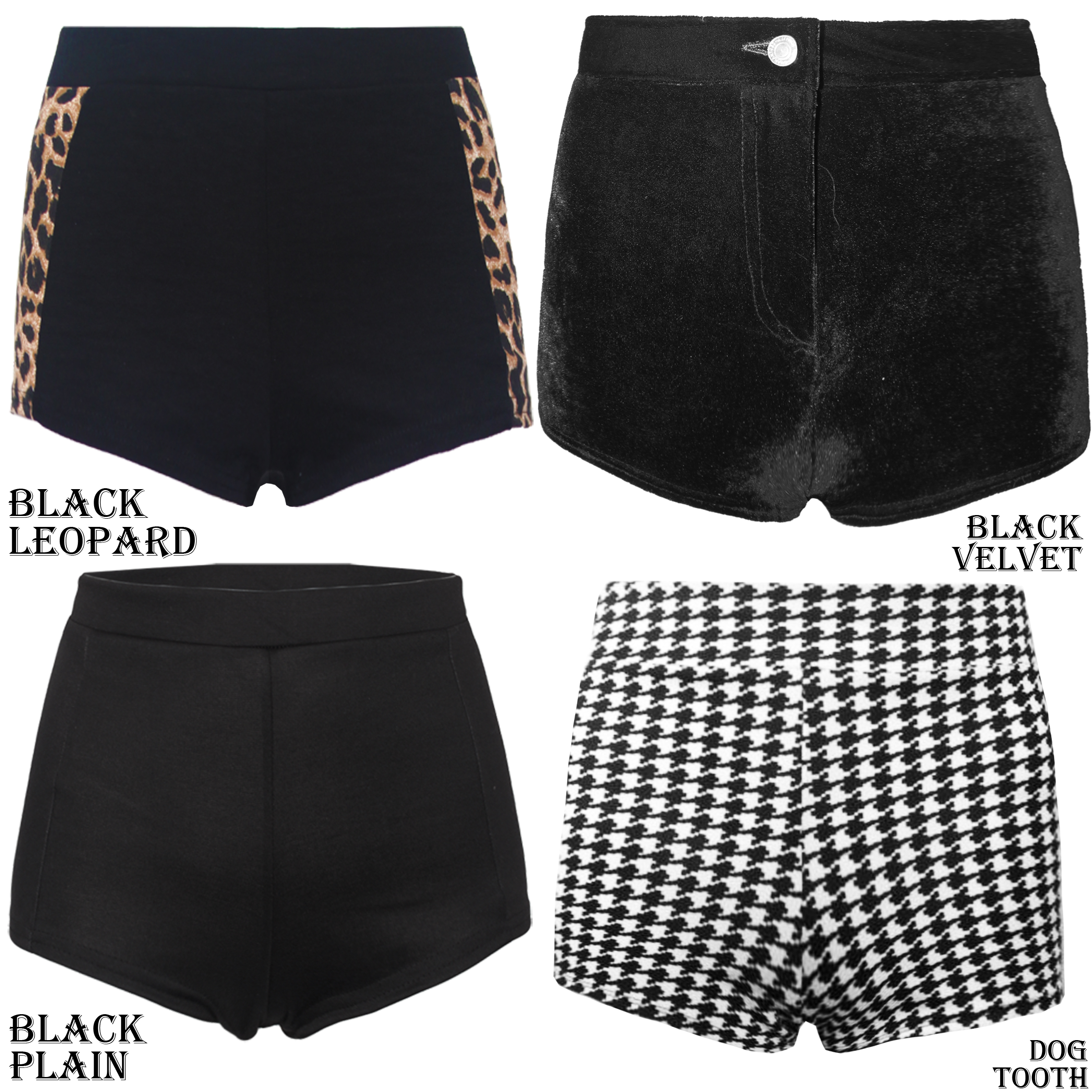 Womens Ladies Dogtooth Black Panel WET Look PVC Hotpants Waisted Shorts Stretch | eBay