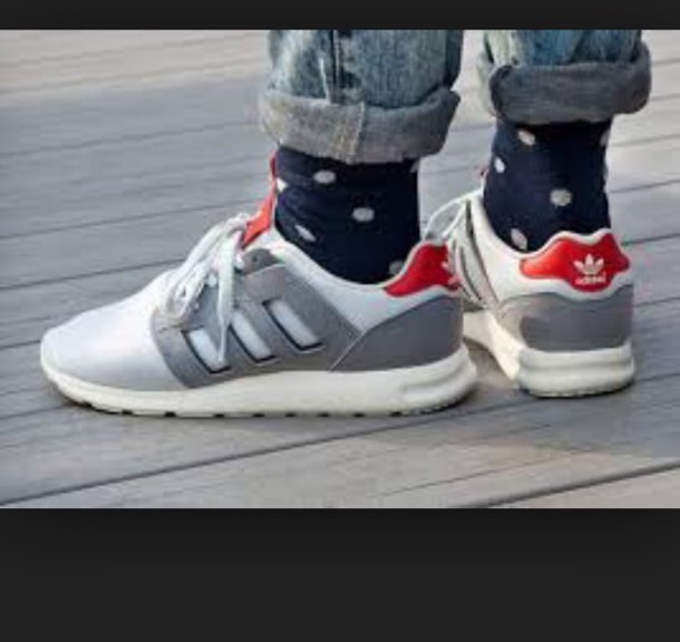 shoes white t-shirt red grey adidas adidas shoes