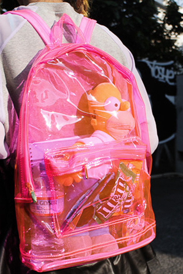 bag backpack pink backpack 90s style plastic transparent  bag homer simpson see through grunge hipster cool cute tumblr soft grunge indie