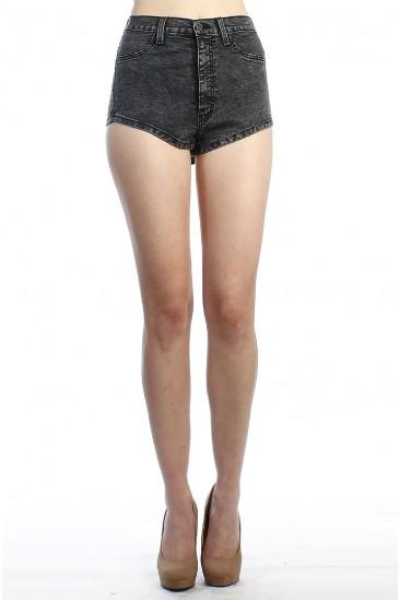 LoveMelrose.com From Harry & Molly   High Waisted Shorts-ACID WASH-BLACK - SHORTS - BOTTOMS