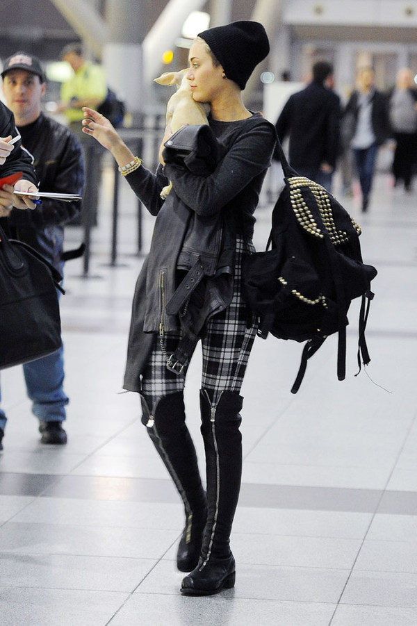 shoes boots black miley cyrus studs airport tumblr outfit over the knee boots over the knee boots knee high boots pants bag