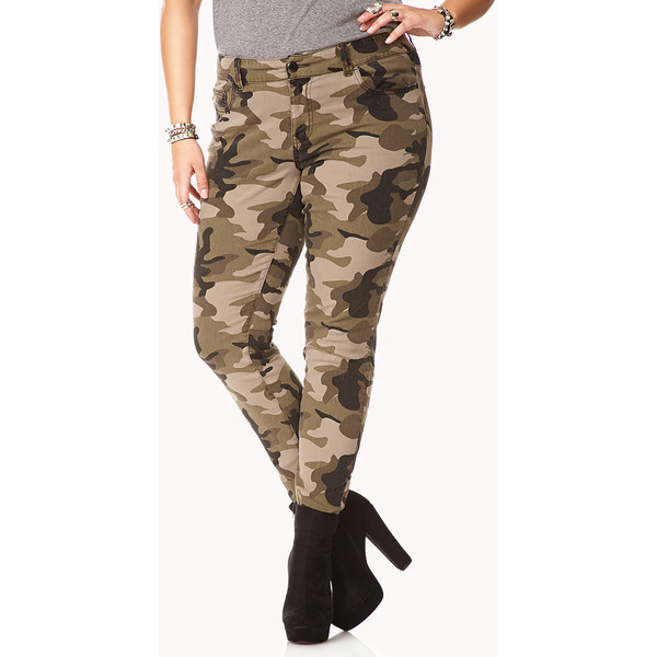 FOREVER 21  PLUS SIZES Camo Skinny Jeans - Polyvore