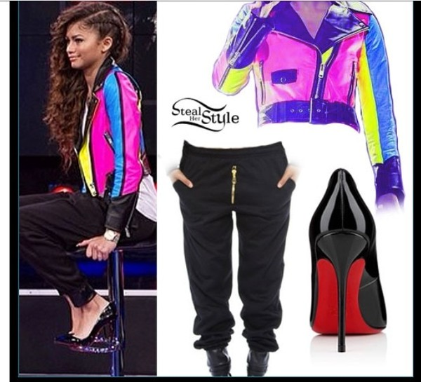 jacket zendaya pink purple sweater pink and purple pink and purple shirt jeans pants shoes